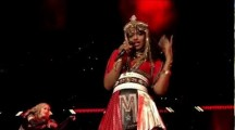 M.I.A. flicks off camera during Half-time Show at Super Bowl