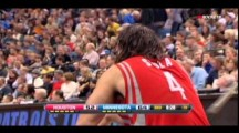 Timberwolves' Kevin Love steps on Luis Scola's face