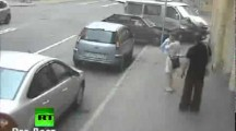 Russian Woman avoids Two Cars in Crash