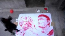 Chinese Woman Paints Portrait of Yao Ming with a Basketball